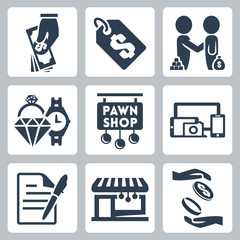 Vector isolated pawnshop icons set
