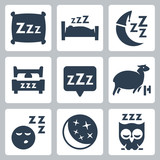 Vector sleep icons set: pillow, bed, moon, sheep, owl, zzz