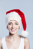 Christmas woman smiling portrait closeup