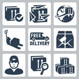 Vector delivery icons set