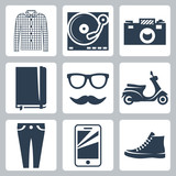 Vector hipster icons set