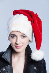 Santa woman with Leather Jacket
