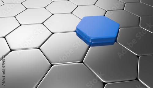 Sechseck Konzept Blau Silber