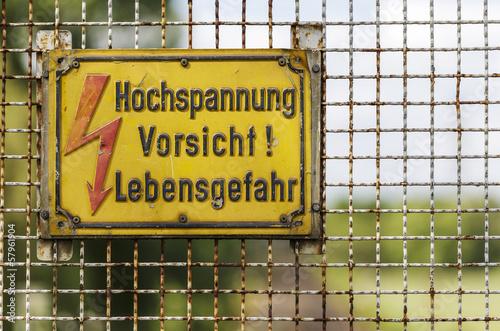 Schild - Hochspannung Vorsicht! Lebensgefahr