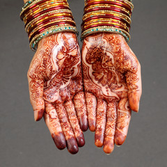 Woman hands with henna