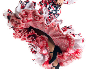 Feet detail of Flamenco dancer in beautiful dress