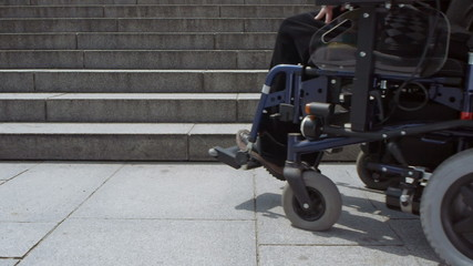 electric wheelchair approaching stairs low angle view