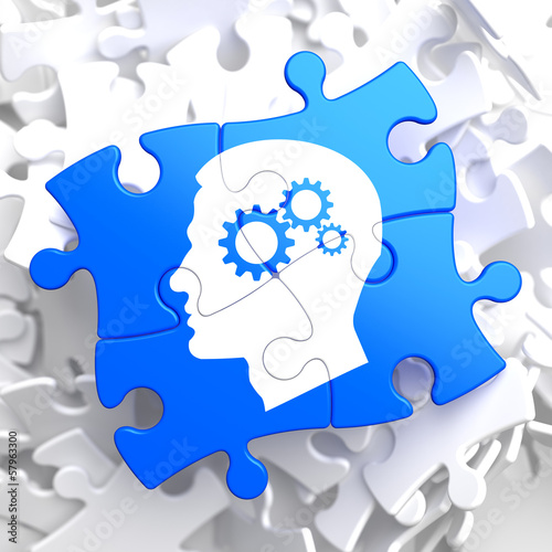 Psychological Concept on Blue Puzzle.