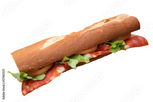 Salami sandwich isolated on white background