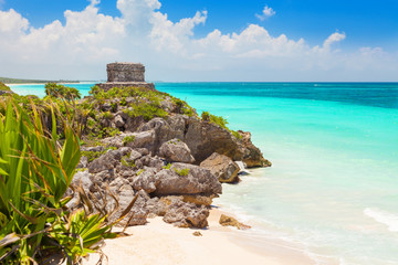 God of Winds Temple on turquoise Caribbean sea. Tulum, Mexico