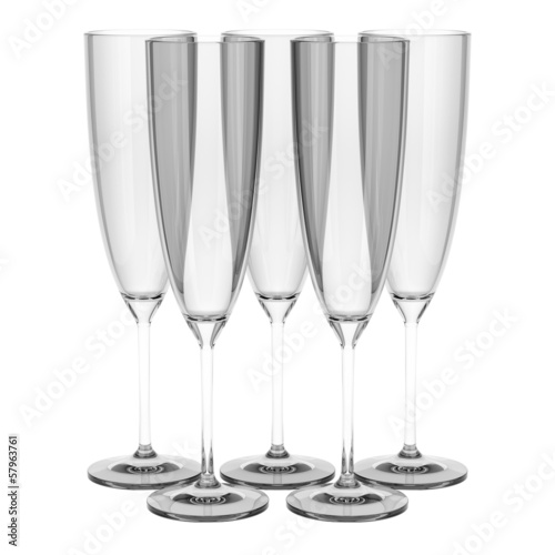 empty champagne glasses isolated on white background
