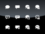 Message bubble icons on black background.
