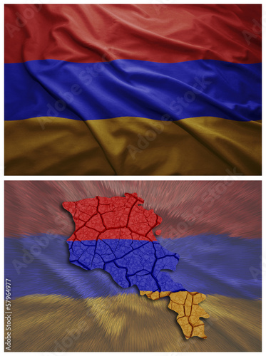 armenia flag and map collage
