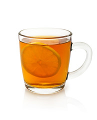 cup of tea with lemon on a white background