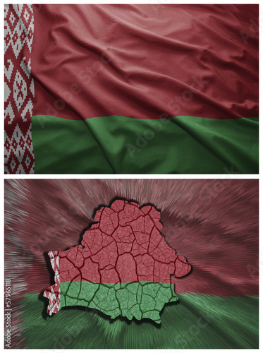 Belarus flag and map collage