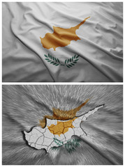 Cyprus flag and map collage