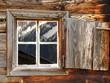 canvas print picture - Bergspiegelung im Holzfenster