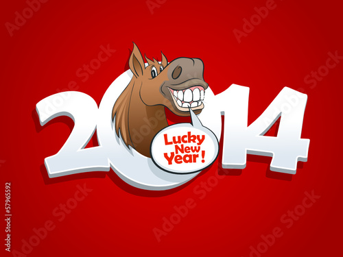 2014 year red design with horse.