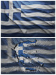 Greece flag and map collage