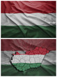 Hungary flag and map collage