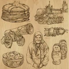 Traveling RUSSIA (set no.1) - Set of hand drawn illustrations.