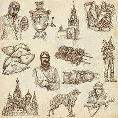 Russia (set no.2) - Full sized hand drawn illustrations.
