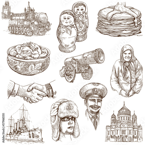Russia (set no.1) - Full sized hand drawn illustrations.