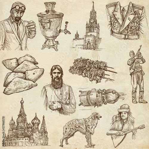 Russia (set no.2) - Full sized hand drawn illustrations.