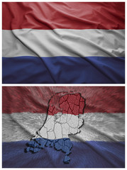 Netherlands flag and map collage