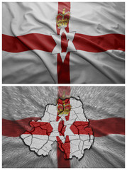 Northern Ireland flag and map collage