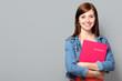 Leinwanddruck Bild - Junge Frau mit Bewerbungsmappe