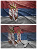 Serbia flag and map collage