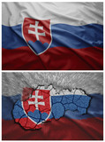 Slovakia flag and map collage