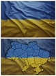 Ukraine flag and map collage