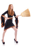 Nice witch with broom on white