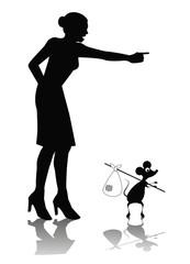 vignetta di silhouette di donna che scaccia un topo