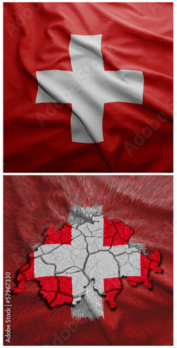 Switzerland flag and map collage