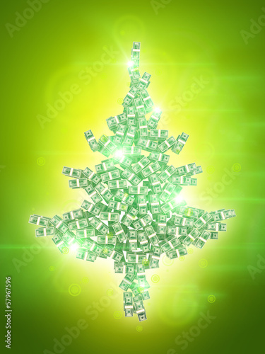 money fir on shining green background
