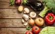 Vegetables on wood background - autumn harvest