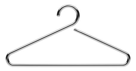 hanger from chromed metal on white background