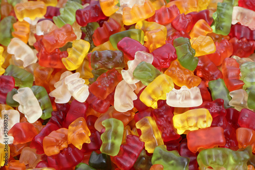Aluminium Snoepjes haribo bear candies as background