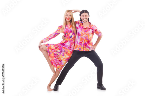 Pair dancing isolated on the white
