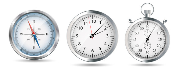 Glossy Compass, watch and stopwatch set. Vector Illustration.