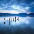 Wooden pier or jetty remains on a lake. Versilia Tuscany, Italy