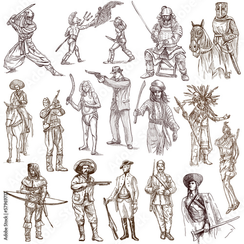 Staande foto Imagination Soldiers, Warriors and Heroes - Full sized hand drawings
