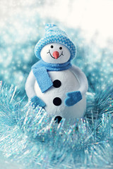 Cute snowman Christmas toy.Christmas card.