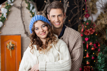 Happy Couple In Christmas Store