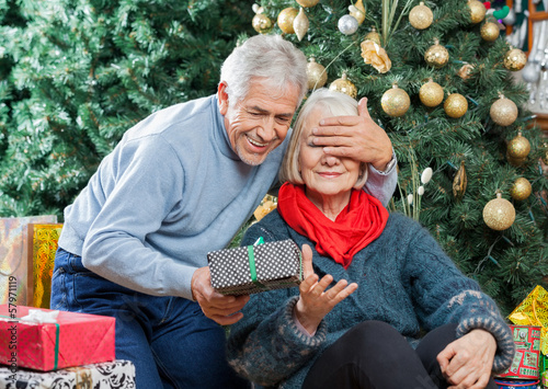 Senior Man Surprising Woman With Christmas Gifts In Store