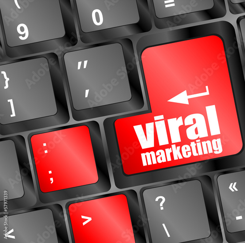 viral marketing word on computer keyboard key