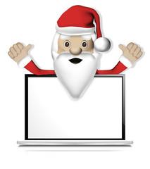 Santa thumbs up with Computer